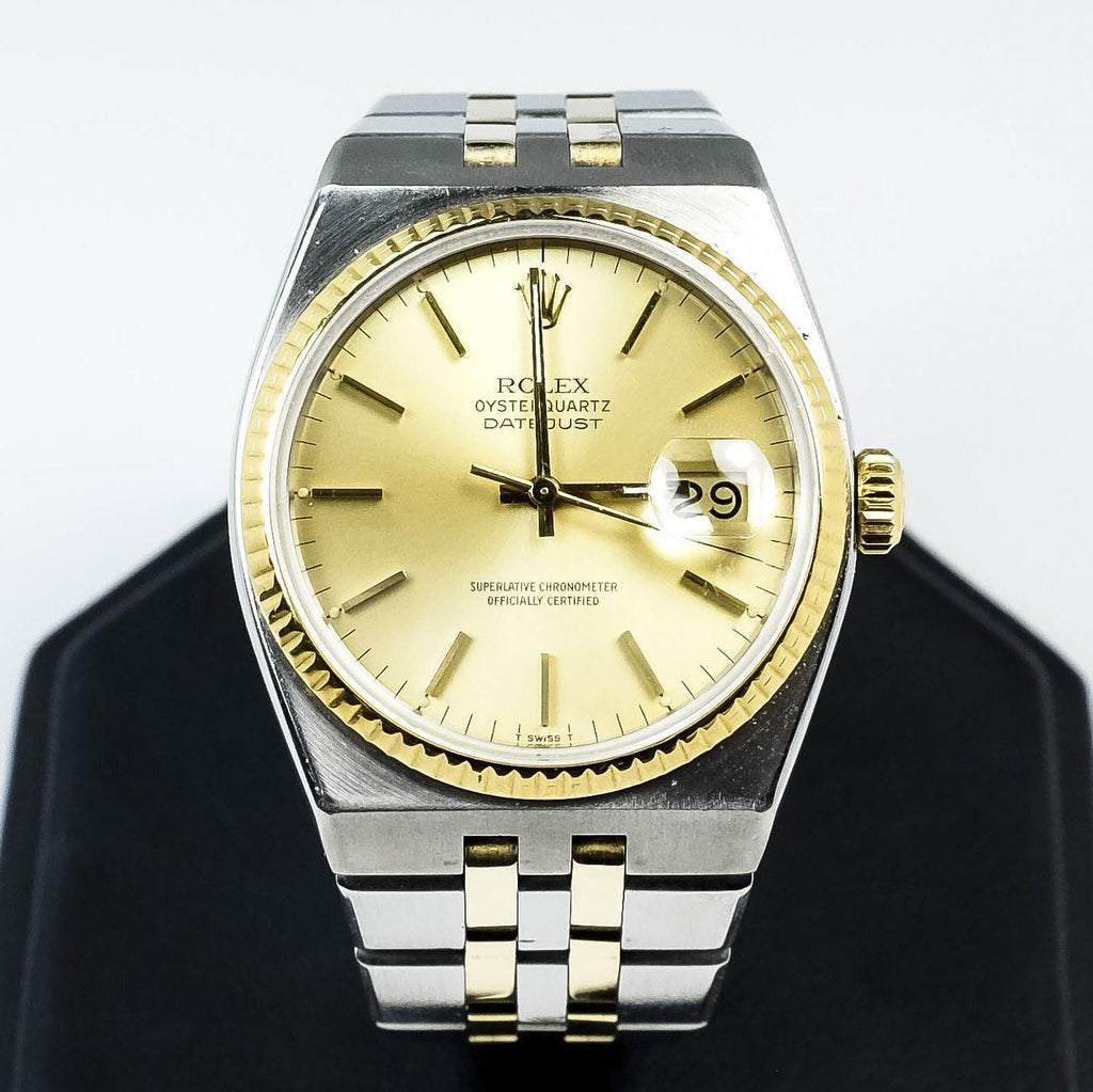 ROLEX 36mm Two-Tone 1980 OysterQuartz Datejust 17013 Men's Wrist Watch Watches Rolex