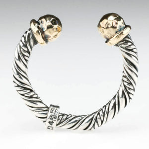 Ron Rizzo Cable Cuff Ring in Sterling Silver and 14K Yellow Gold Metal Rings Ron Rizzo