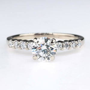 Round 0.80ct Diamond Engagement Ring with Side Accents in 14K White Gold Engagement Rings Oaks Jewelry