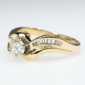 Round & Baguette Diamond Bypass Engagement Ring in 14K Yellow Gold Engagement Rings Oaks Jewelry