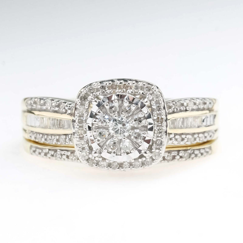 Round & Baguette Diamond Cluster Matching Bridal Set in 10K Two Tone Gold Bridal Sets Oaks Jewelry