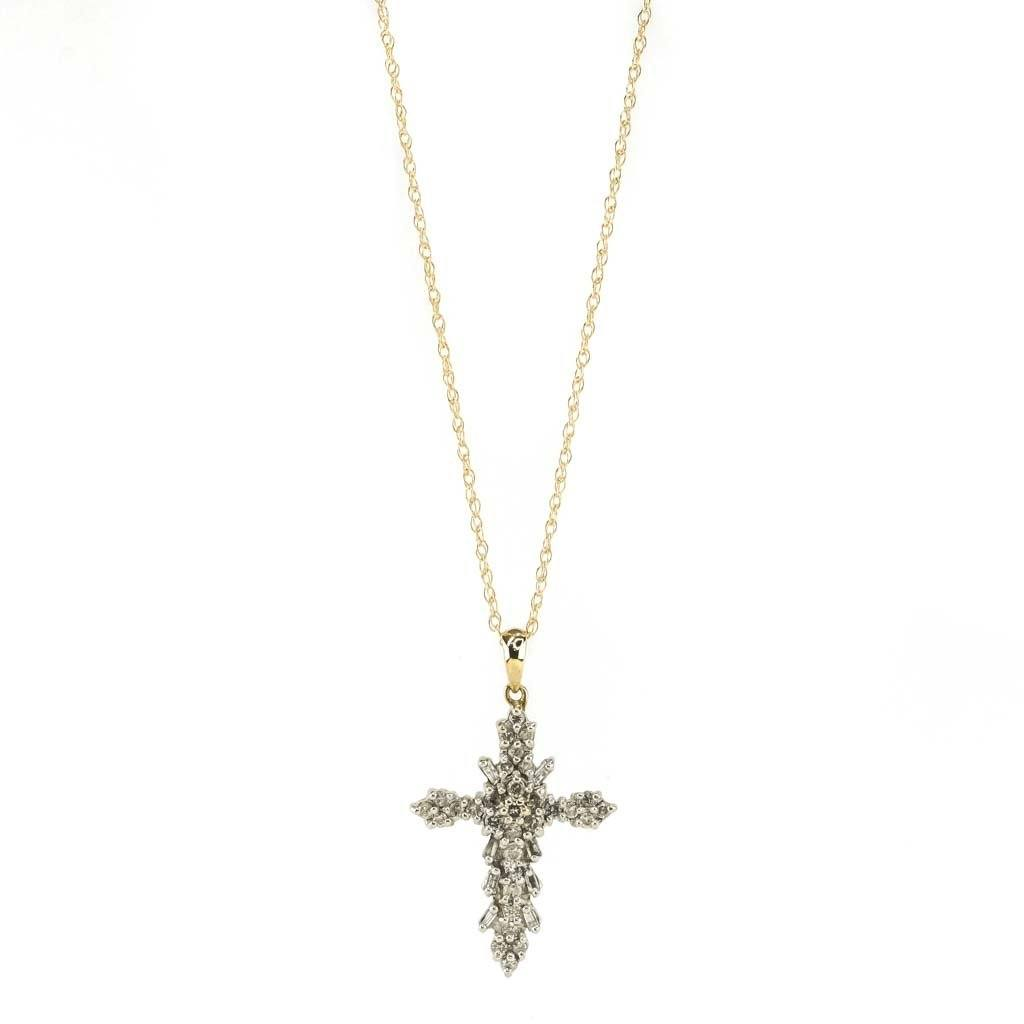 "Round & Baguette Diamond Cross Pendant 18"" Chain 0.33ctw in 10/14K Yellow Gold Pendants with Chains Oaks Jewelry"