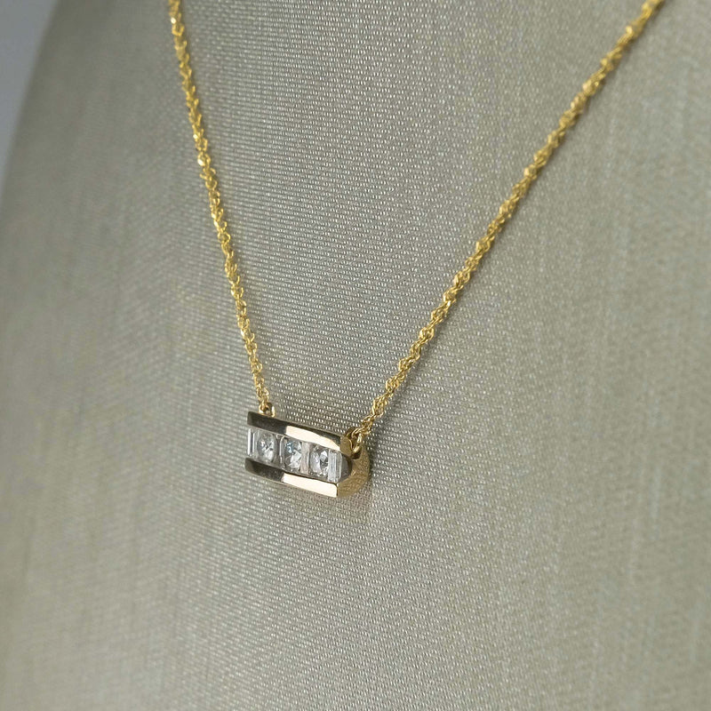 "Round & Baguette Diamond Horizontal Bar 17.5"" Fixed Necklace in 10K Yellow Gold Necklaces Oaks Jewelry"