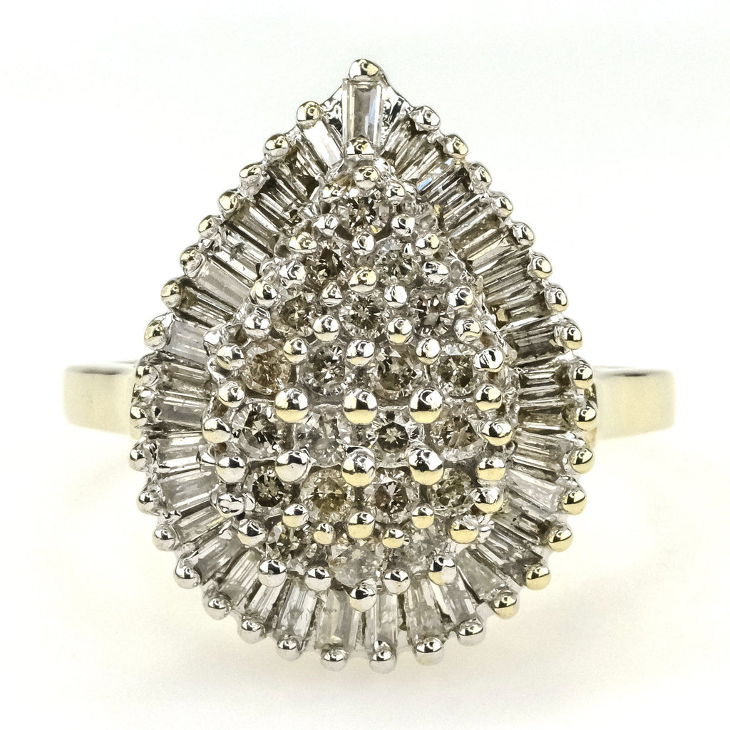 Round & Baguette Diamond Pear Shaped Cluster Ring 1.00ctw in 10K Two Tone Gold Diamond Rings Oaks Jewelry