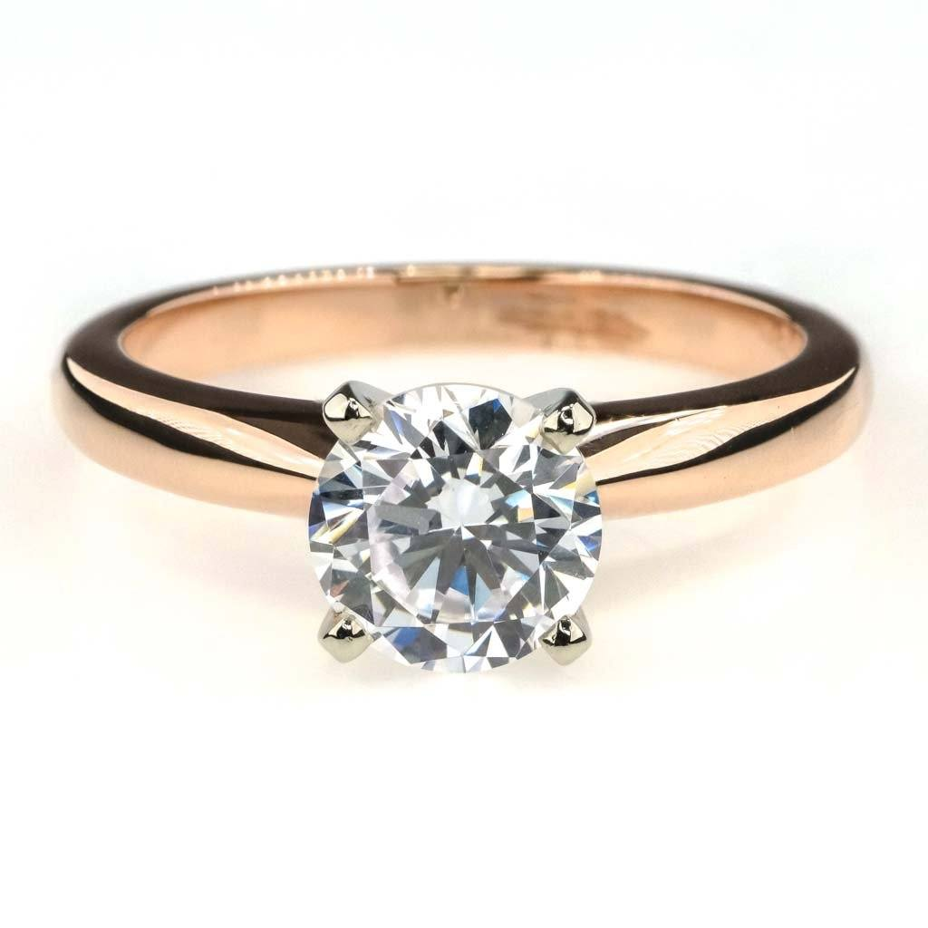 Round Cubic Zircona Solitaire Engagement Ring 1.50ct in 14K Two Tone Gold Engagement Rings Oaks Jewelry