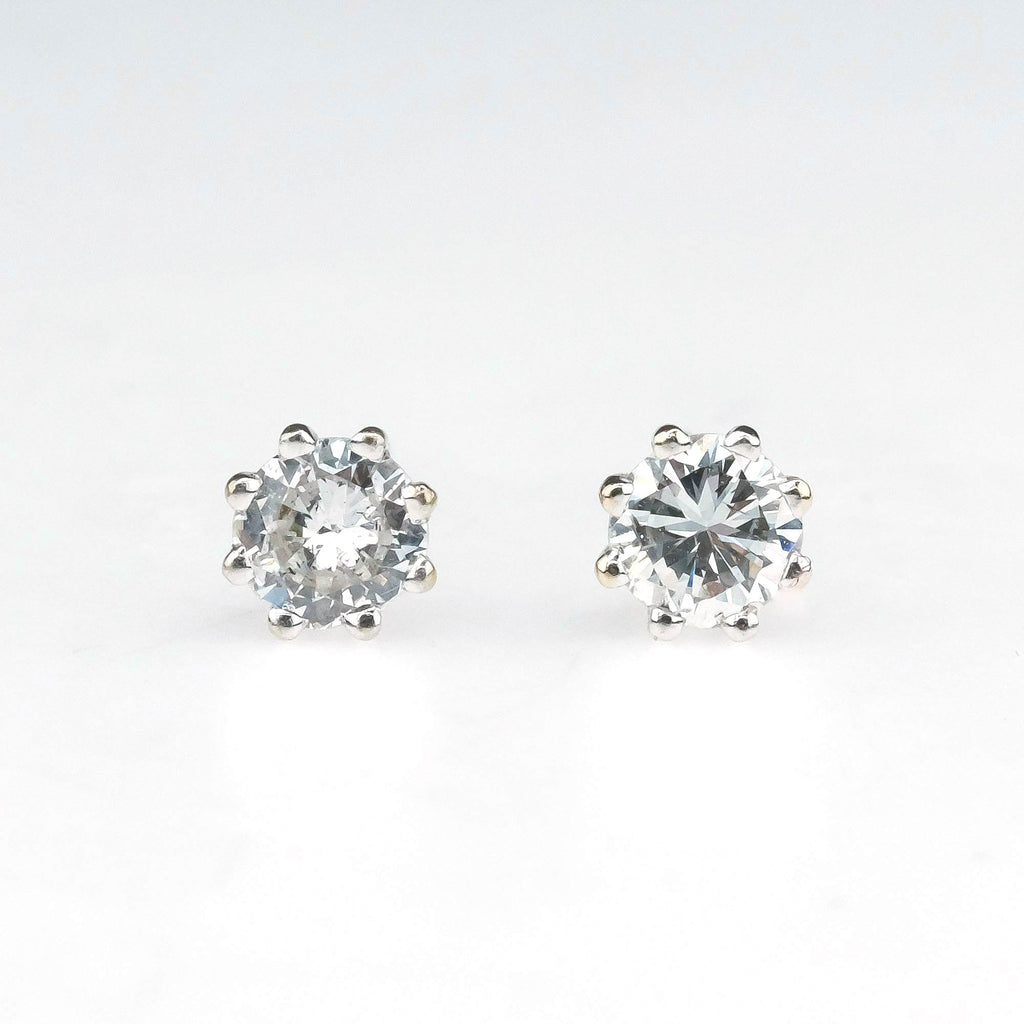 Round Diamond 0.30ctw Stud Earrings in 14K White Gold Earrings Oaks Jewelry