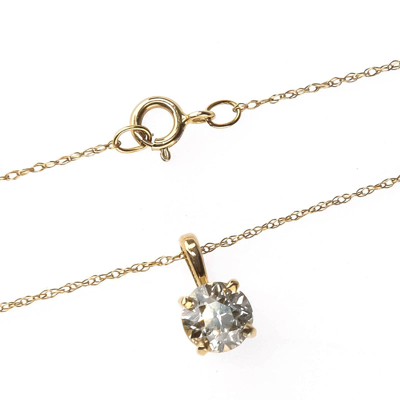 "Round Diamond 0.50ct Solitaire Pendant on 18"" Chain Necklace in 14K Yellow Gold Pendants with Chains Oaks Jewelry"