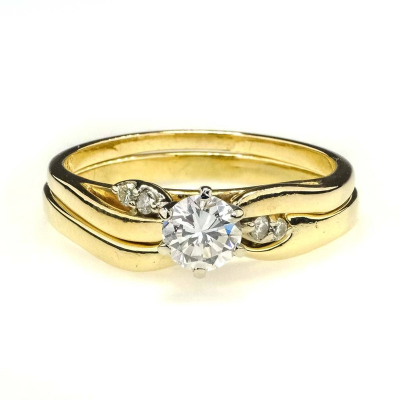 Round Diamond Bridal Set 0.50ctw in 14K Yellow Gold Bridal Sets Oaks Jewelry
