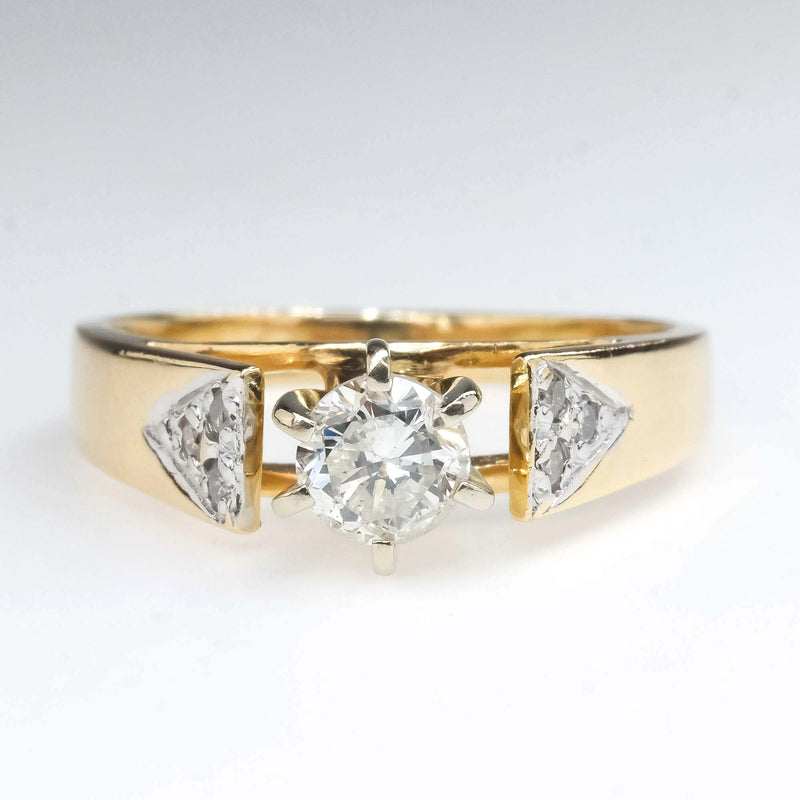 Round Diamond Cathedral Engagement Ring in 14K Yellow Gold Engagement Rings Oaks Jewelry