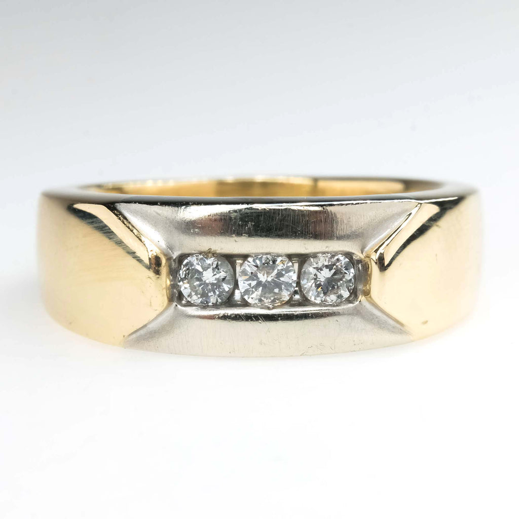 Round Diamond Channel Ring Band in 10K Two Tone Gold Wedding Rings Oaks Jewelry