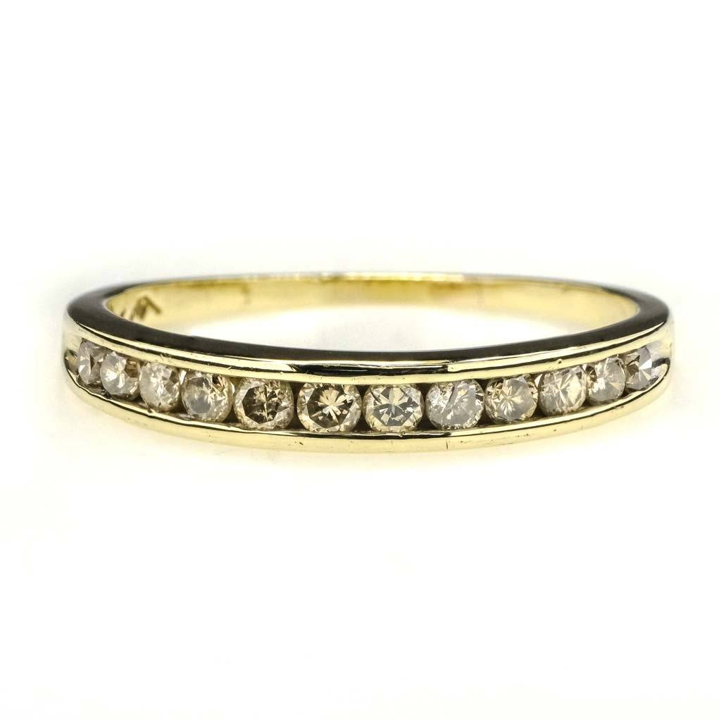 Round Diamond Channel Set Wedding Band 0.60ctw in 10K Yellow Gold Wedding Rings Oaks Jewelry