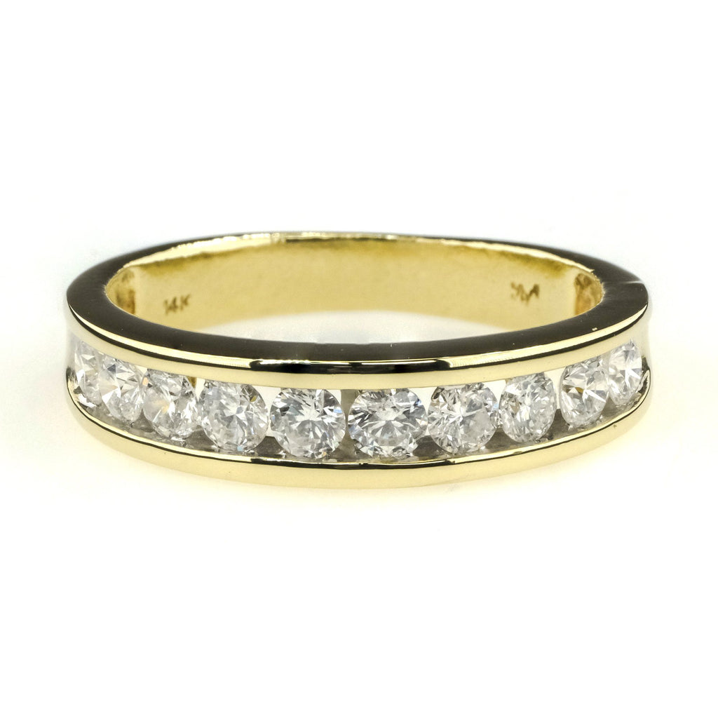 Round Diamond Channel Set Wedding Band 1.00ctw in 14K Yellow Gold Wedding Rings Oaks Jewelry