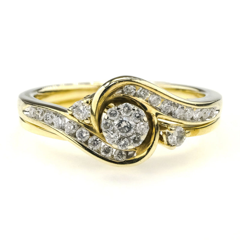 Round Diamond Cluster Bypass Bridal Set 0.33ctw 10K Yellow Gold Bridal Sets Oaks Jewelry