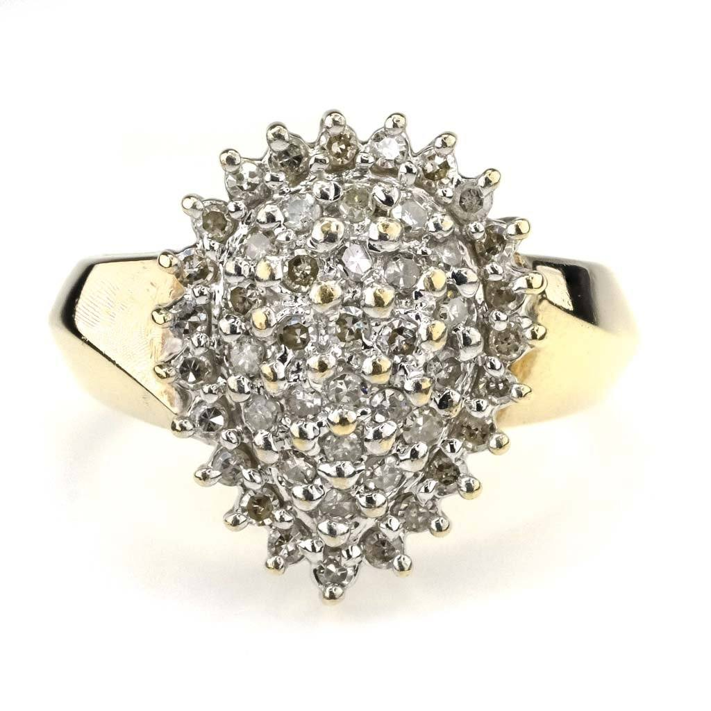 Round Diamond Cluster Ring 0.50ctw in 10K Two Tone Gold Diamond Rings Oaks Jewelry