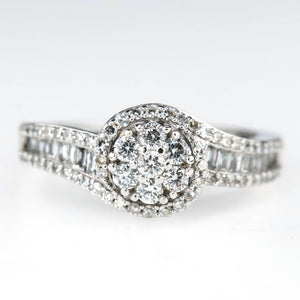 Round Diamond Cluster with Swirl Halo Engagement Ring in 10K White gold Engagement Rings Oaks Jewelry