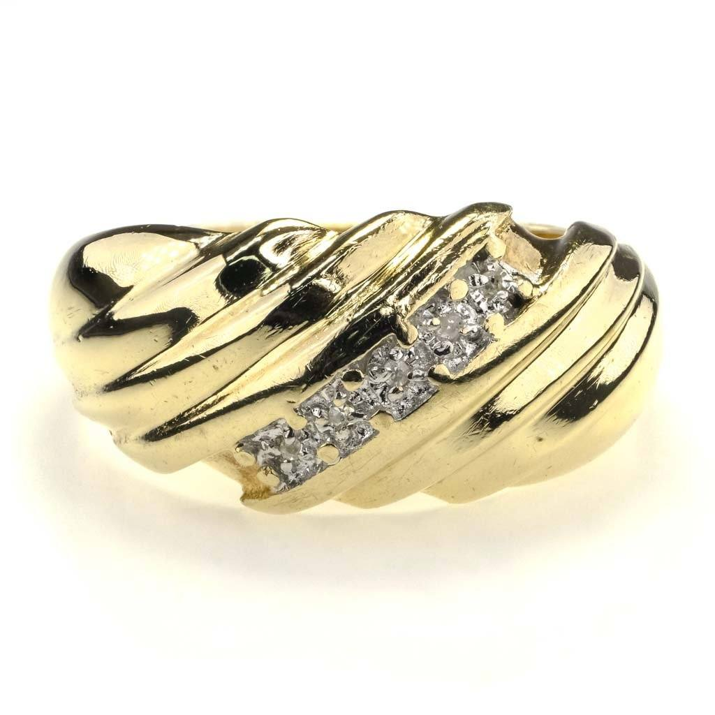 Round Diamond Dome Wave Ring 0.02ctw in 10K Yellow Gold Diamond Rings Oaks Jewelry
