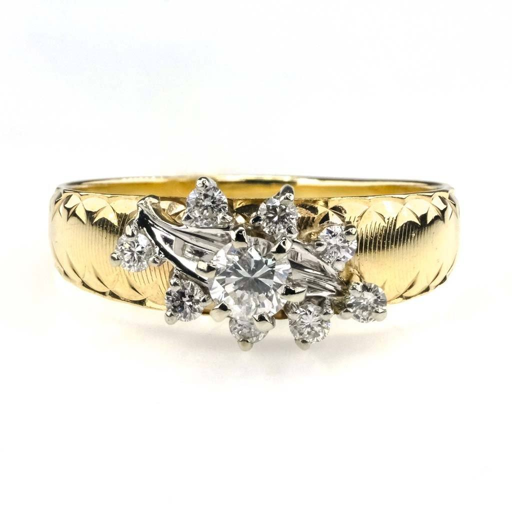 Round Diamond Etched Engagement Ring 0.40ctw in 14K Two Tone Gold Engagement Rings Oaks Jewelry
