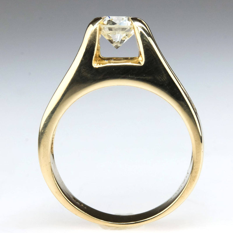Round Diamond Floating Tension Prong Engagement Ring in 14K Yellow Gold Engagement Rings Oaks Jewelry