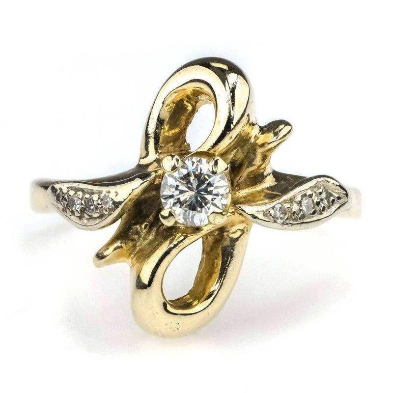 Round Diamond Free Form Ring 0.25ctw in 14K Yellow Gold Diamond Rings Oaks Jewelry