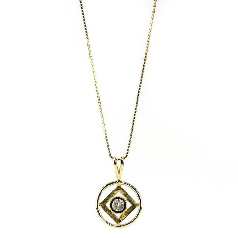"Round Diamond Geometric Pendant 18"" Necklace 0.50ct in 14K Yellow Gold Pendants with Chains Oaks Jewelry"