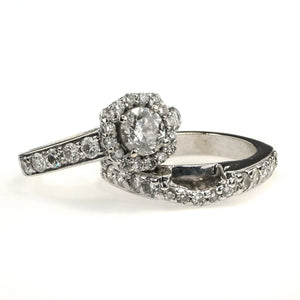 Round Diamond Halo Bridal Set 2.30ctw in 14K White Gold Bridal Sets Oaks Jewelry
