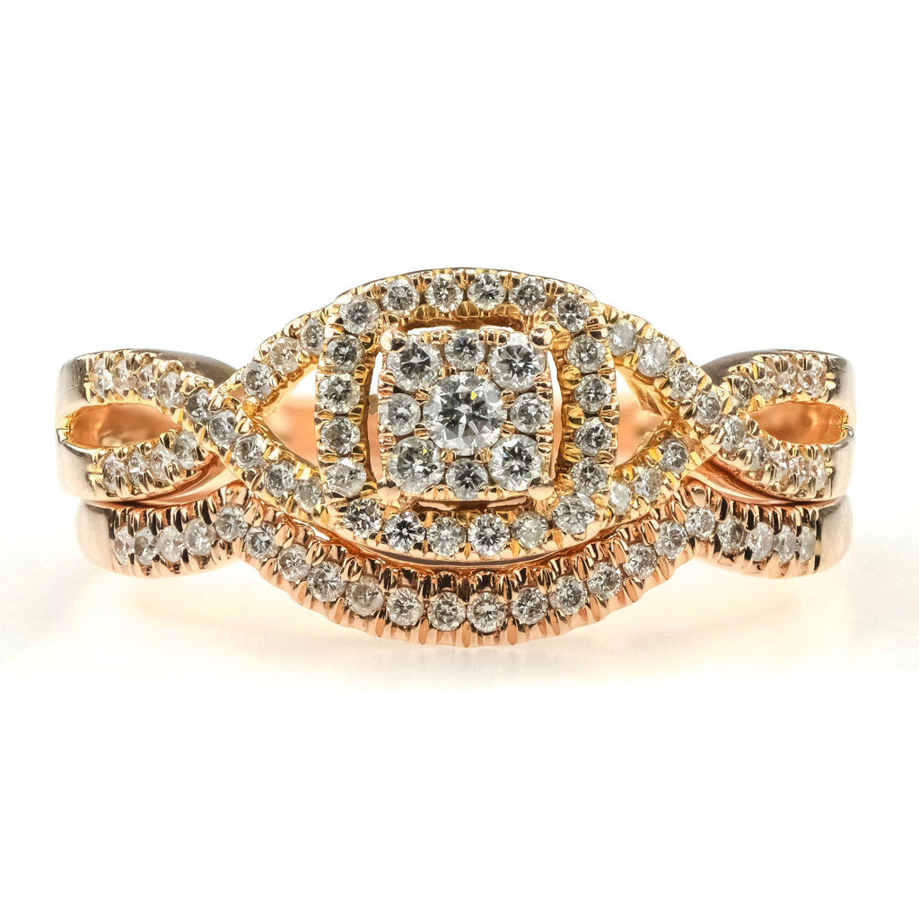 Round Diamond Halo Cluster Bridal Set 0.50ctw 10K Rose Gold Bridal Sets Oaks Jewelry