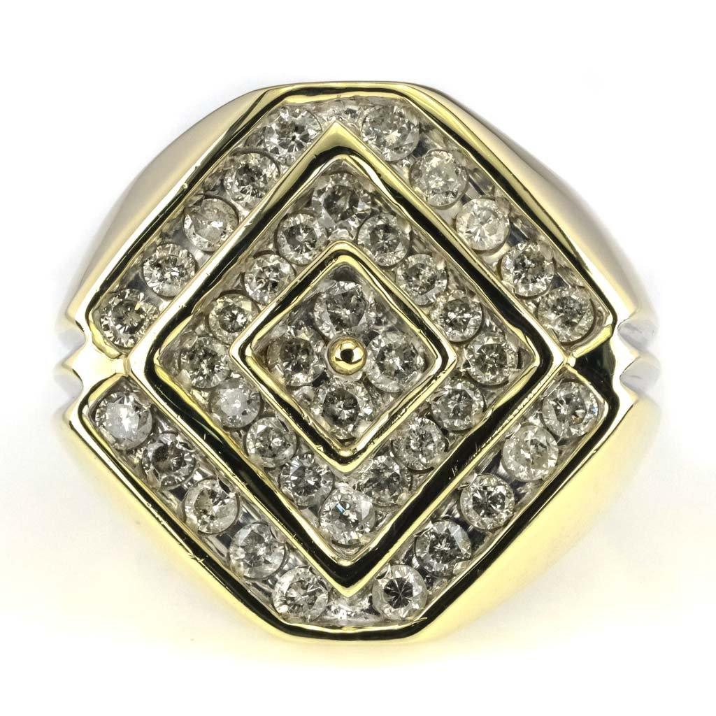 Round Diamond Halo Cluster Men's Ring 2.80ctw in 10K Yellow Gold Diamond Rings Oaks Jewelry