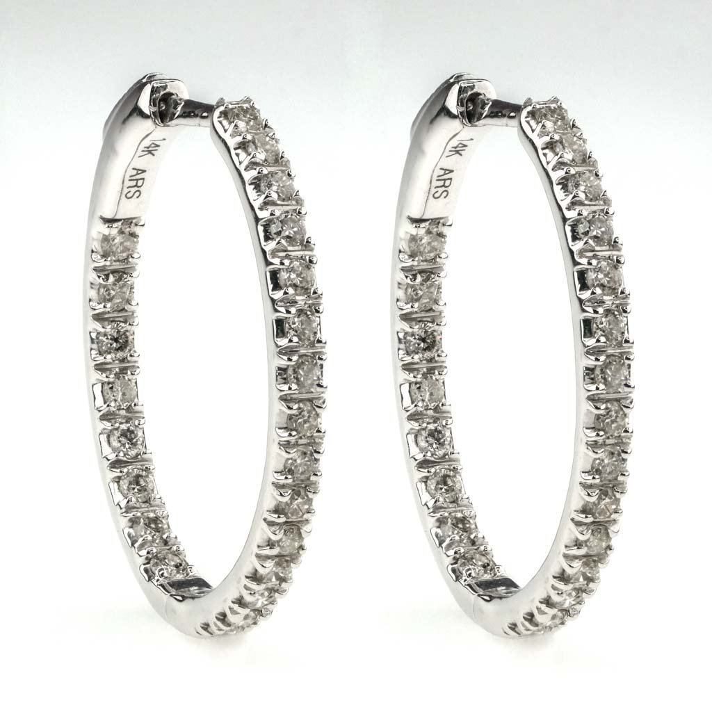 Round Diamond Inside-Out Oval Hoop Earrings 1.00ctw in 14K White Gold Earrings Oaks Jewelry