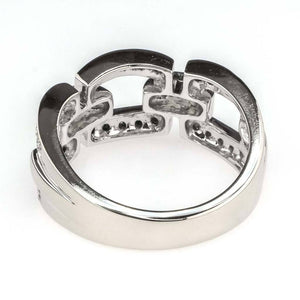 Round Diamond Link Band 0.33ctw in 14K white Gold Diamond Rings Oaks Jewelry