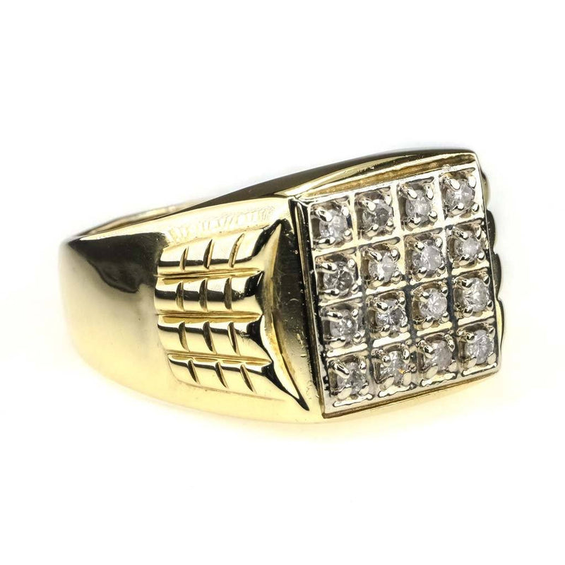 Round Diamond Men's Cluster Ring 0.33ctw in 10K Yellow Gold Diamond Rings Oaks Jewelry