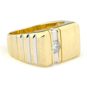 Round Diamond Men's Solitaire Ring 0.25ctw in 14K Two Tone Gold Diamond Rings Oaks Jewelry