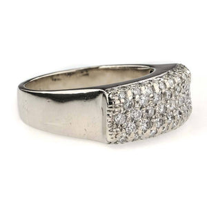 Round Diamond Pave Ring 0.86ctw in 18K White Gold Diamond Rings Oaks Jewelry