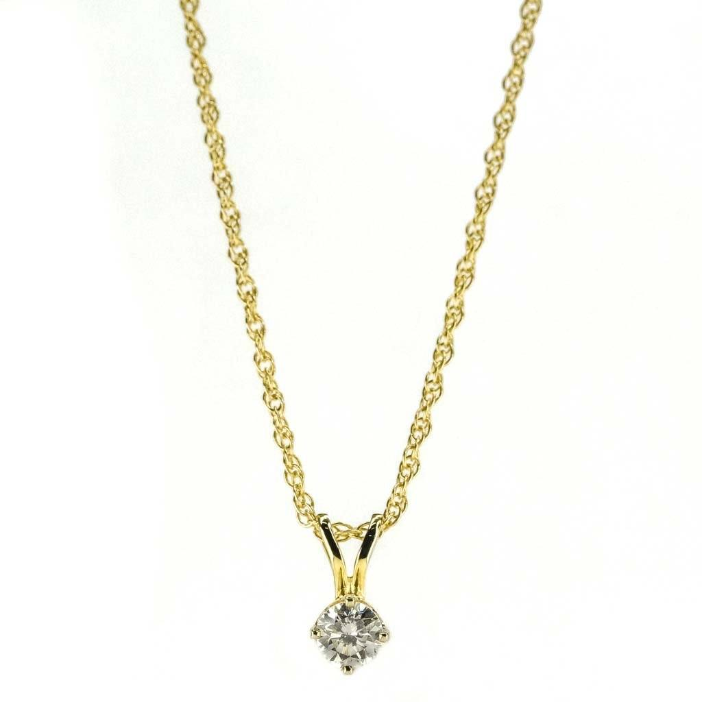 "Round Diamond Solitaire Pendant 18"" Necklace 0.40ct in 14K Yellow Gold Necklaces Oaks Jewelry"