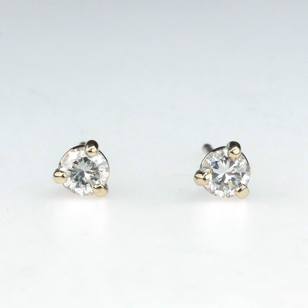 Round Diamond Solitaire Stud Earrings 0.20ctw in 14K White Gold Earrings Oaks Jewelry