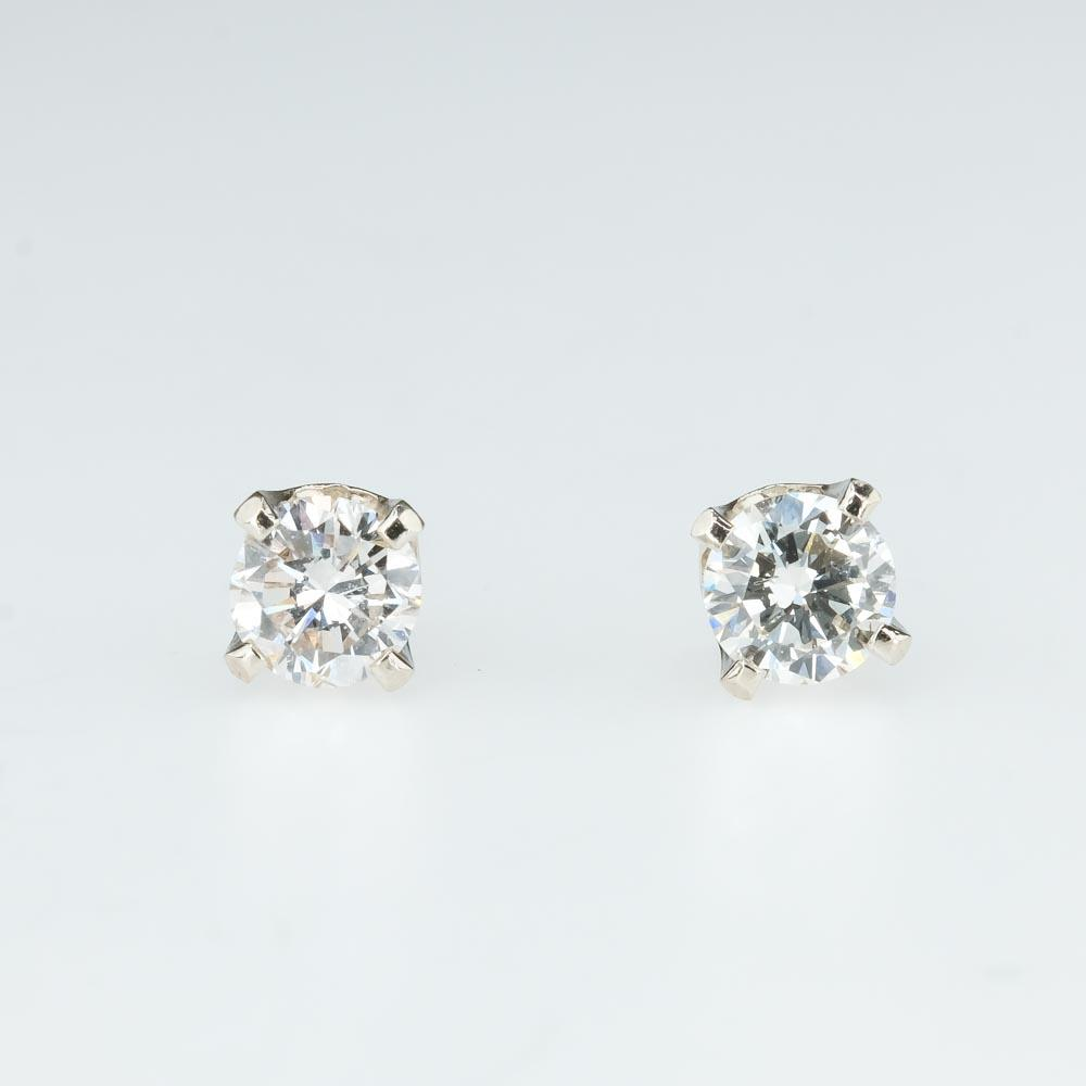 Round Diamond Solitaire Stud Earrings 0.42ctw in 14K White Gold Earrings Oaks Jewelry