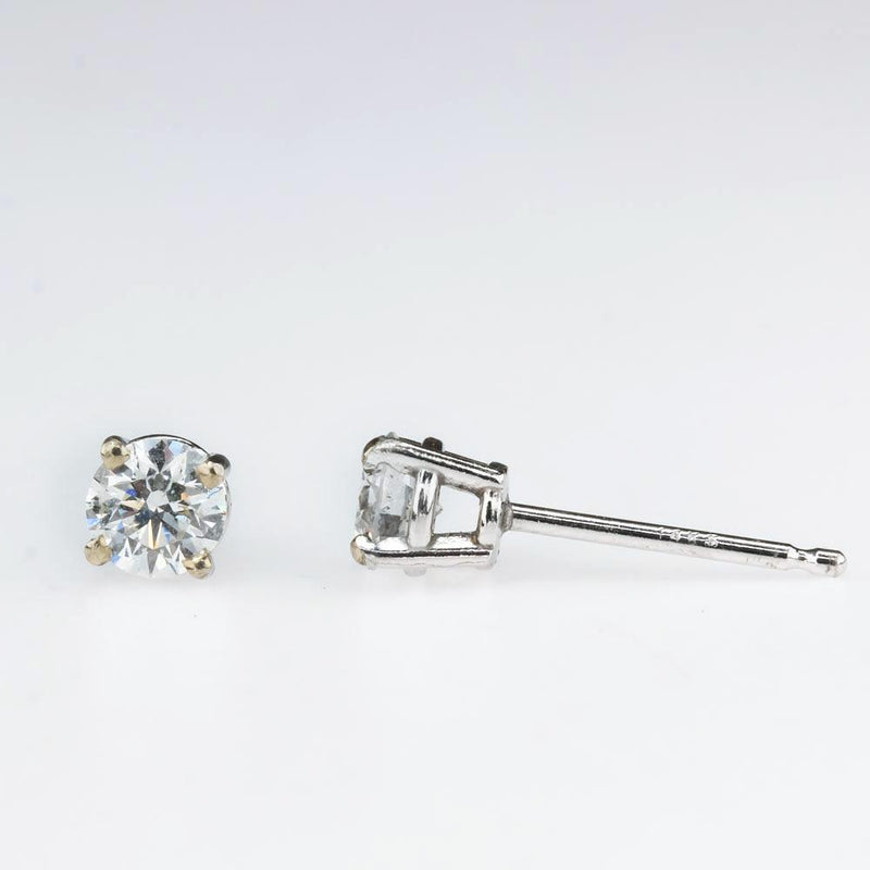 Round Diamond Solitaire Stud Earrings 0.50ctw in 14K White Gold Earrings Oaks Jewelry