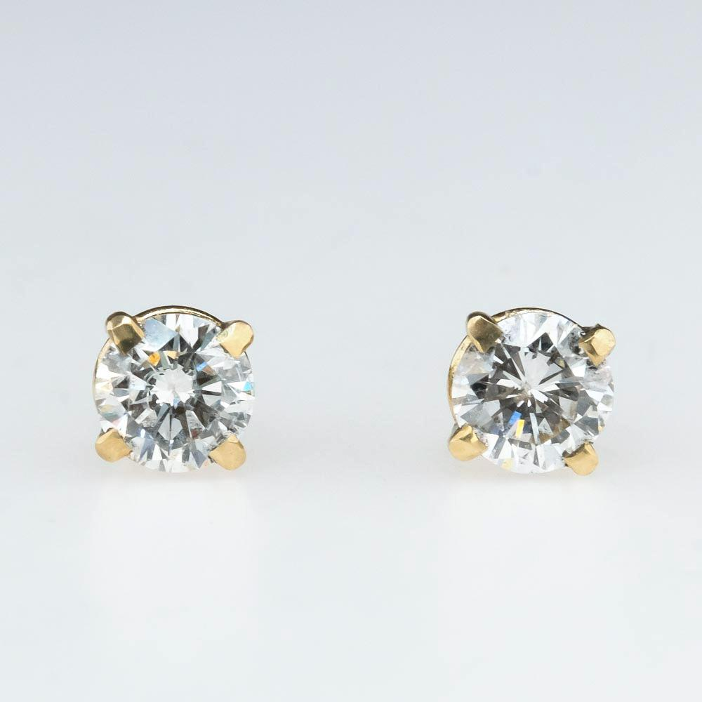 Round Diamond Solitaire Stud Earrings 0.50ctw in 14K Yellow Gold Earrings Oaks Jewelry