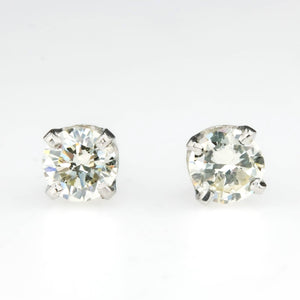 Round Diamond Solitaire Stud Earrings 0.66ctw in 14K White Gold Earrings Oaks Jewelry