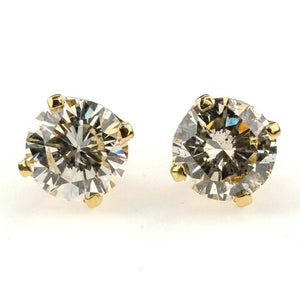 Round Diamond Solitaire Stud Earrings 1.00ctw in 14K Yellow Gold Earrings Oaks Jewelry