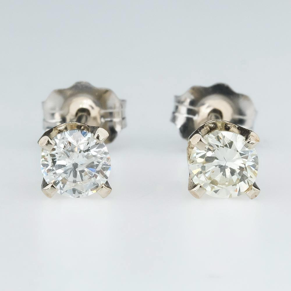 Round Diamond Stud Solitaire Earrings 0.42ctw in 14K White Gold Earrings Oaks Jewelry