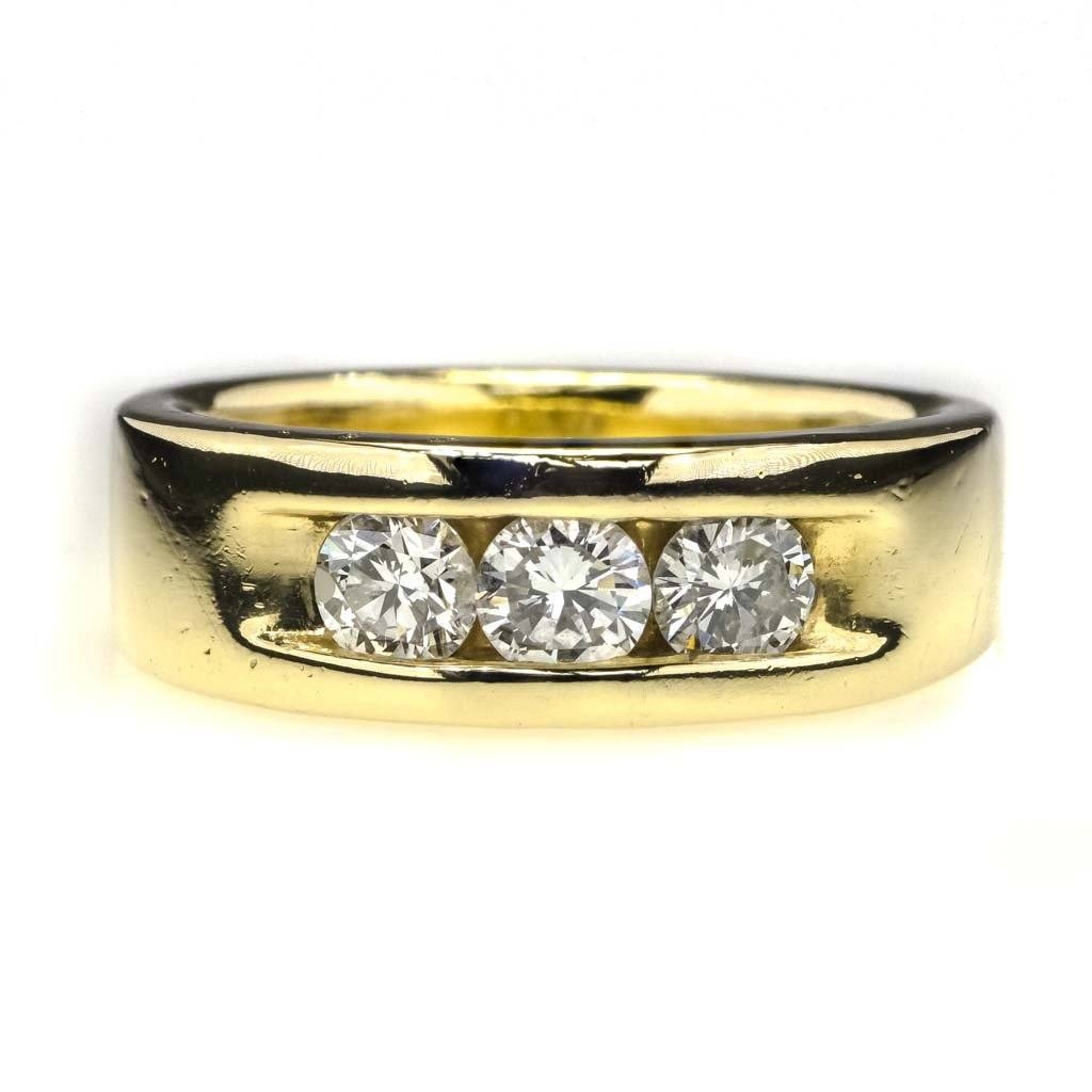 Round Diamond Three Stone Men's Ring 0.75ctw in 14K Yellow Gold Diamond Rings Oaks Jewelry