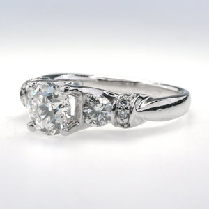 Round Diamond Three Stone Verragio Engagement Ring 2.36ctw in Platinum Engagement Rings Oaks Jewelry