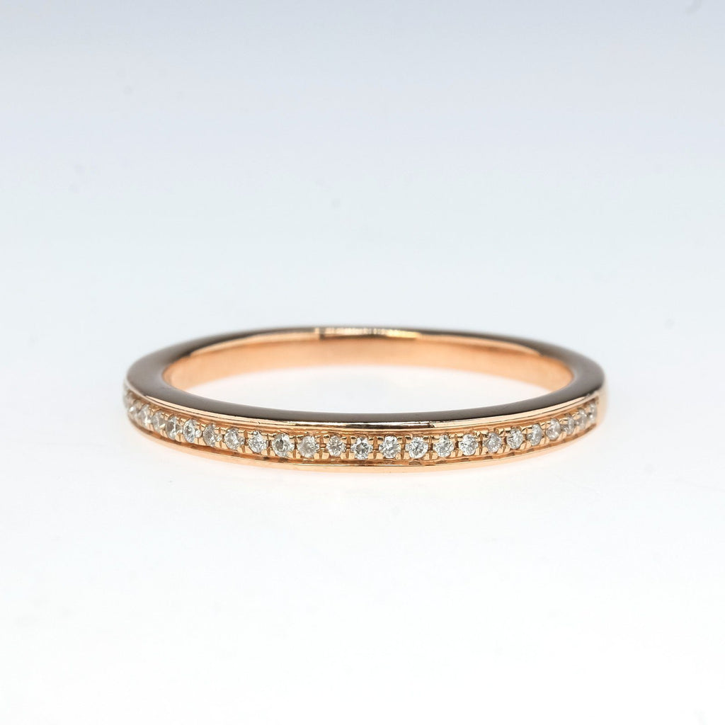 Round Diamond Wedding Band in 10K Rose Gold Wedding Rings Oaks Jewelry