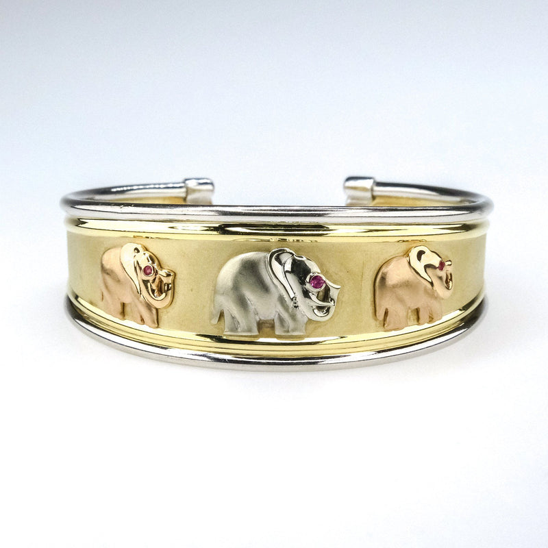 "Ruby Accented Detailed Etched Elephant Cuff 6.5"" Bracelet in 14K Tri Tone Gold Bracelets Oaks Jewelry"