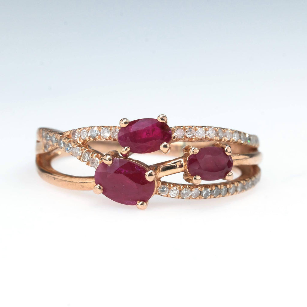 Ruby & Diamond Accented Crisscross Ring in 10K Rose Gold Gemstone Rings Oaks Jewelry