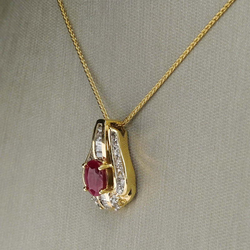 "Ruby & Diamond Pendant on 17"" Wheat Chain in 14K Yellow Gold Pendants with Chains Oaks Jewelry"