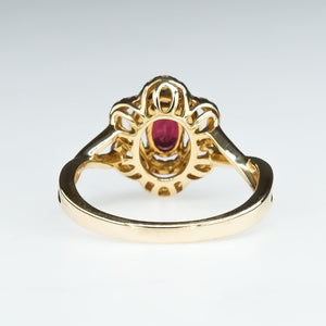 Ruby with Double Floral Diamond Halo Ring in 14K Yellow Gold Gemstone Rings Oaks Jewelry