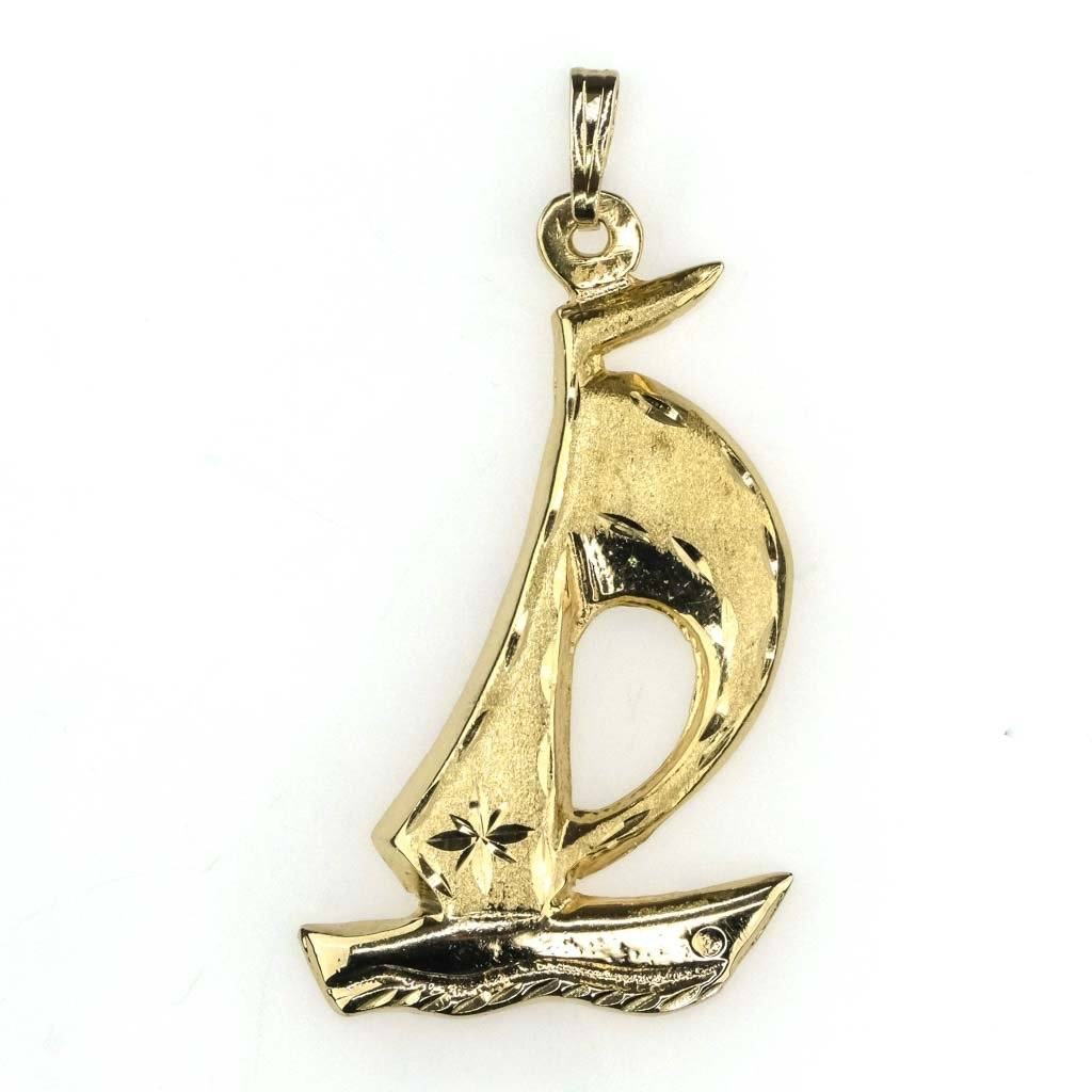 Sailboat Pendant in 14K Yellow Gold Pendants Oaks Jewelry