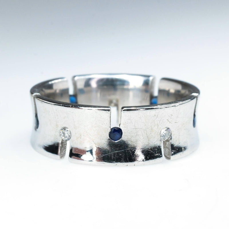 Sapphire and Diamond Alternating Concave Wide Band in 14K White Gold Gemstone Rings Oaks Jewelry