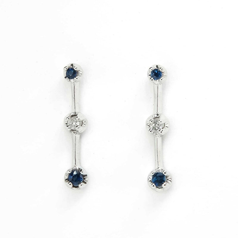 Sapphire and Diamond Vertical Bar Drop Dangle Earrings in 10K White Gold Earrings Oaks Jewelry